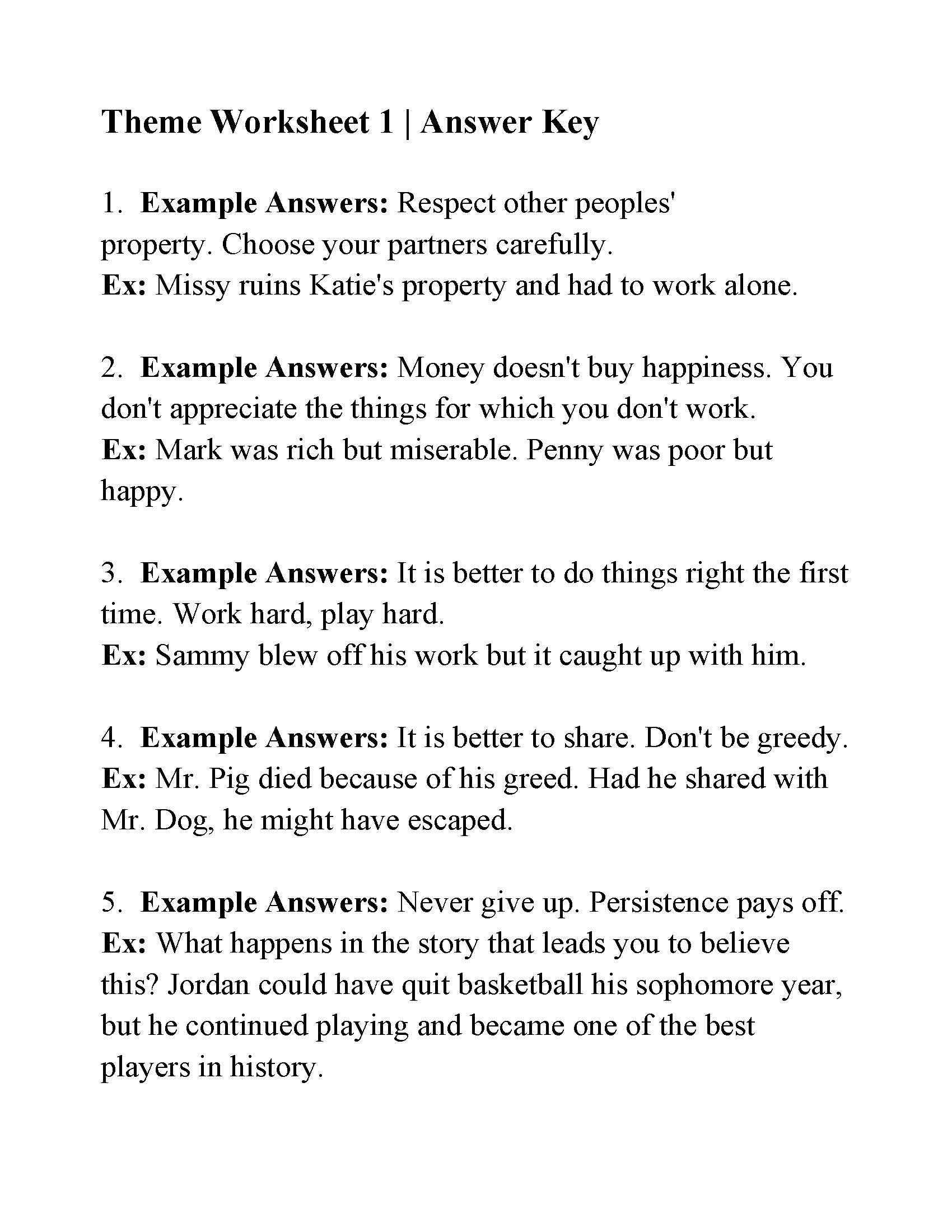 Theme Worksheet 1