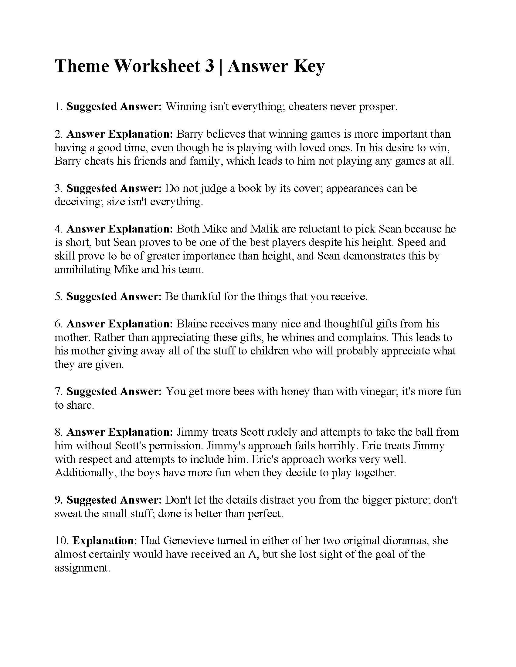 Theme Worksheet 3