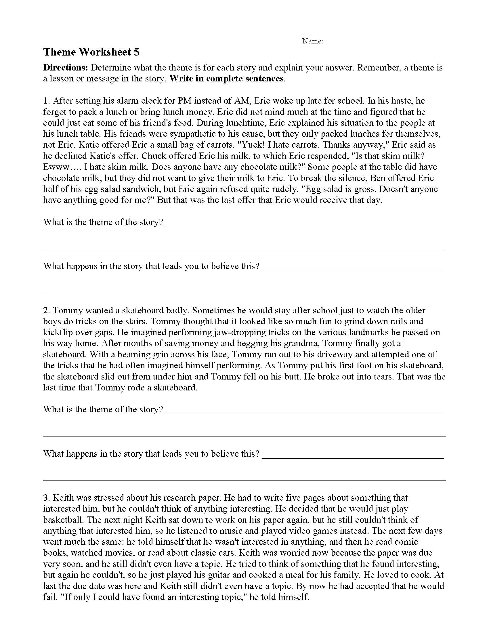 Theme Worksheet 5