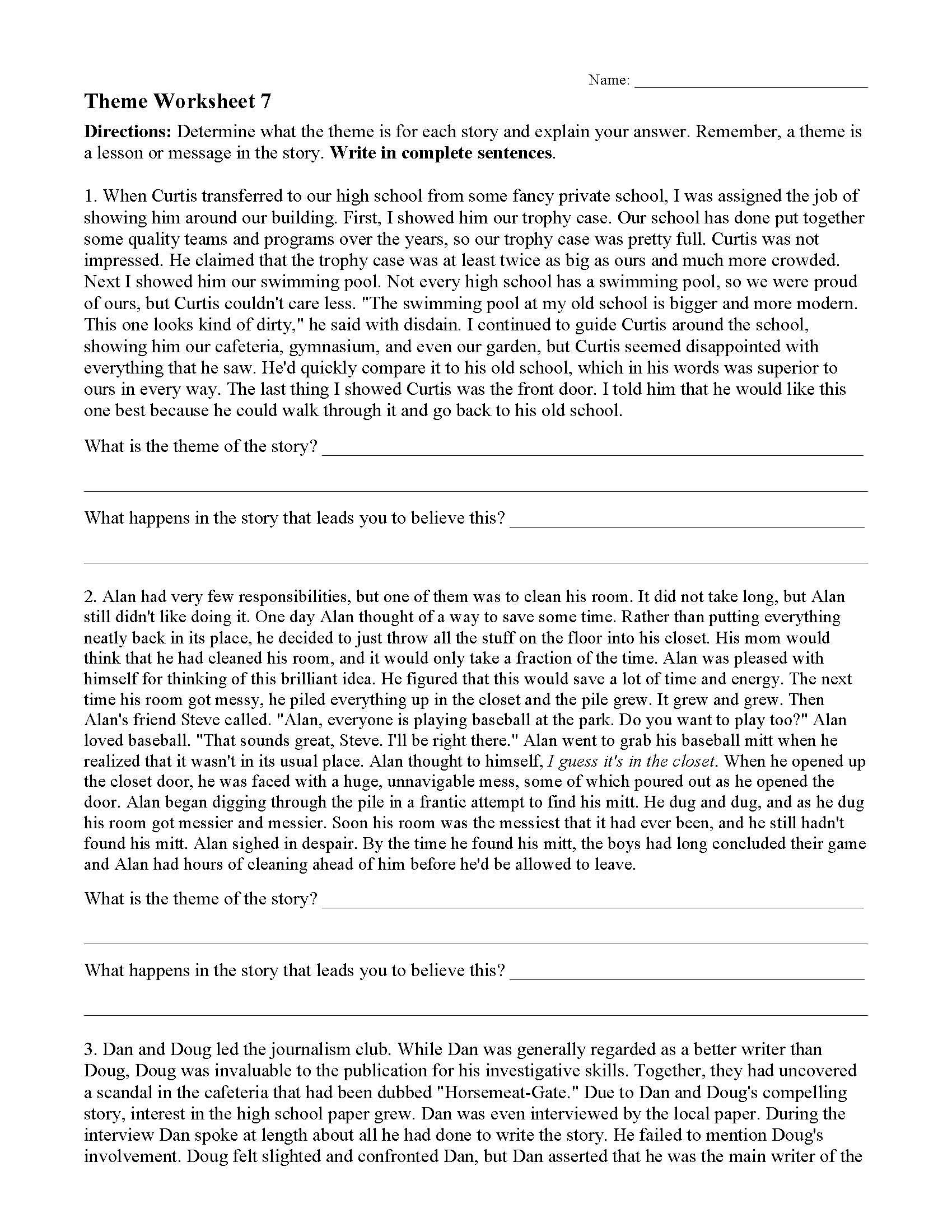 Theme Worksheet 7