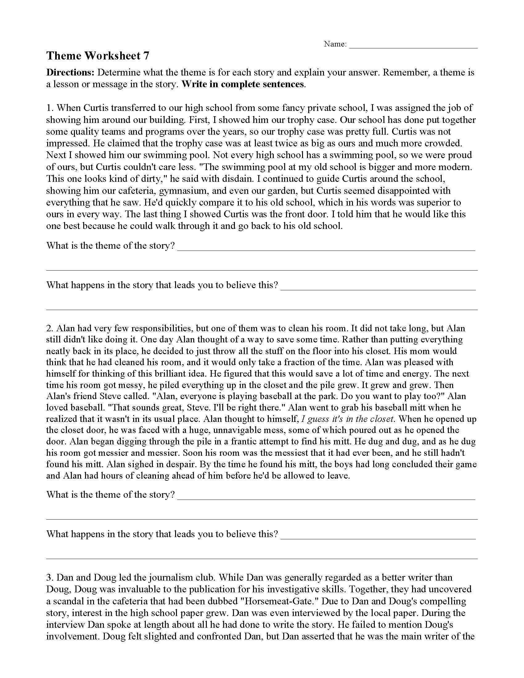 hight resolution of Theme or Author's Message Worksheets   Ereading Worksheets