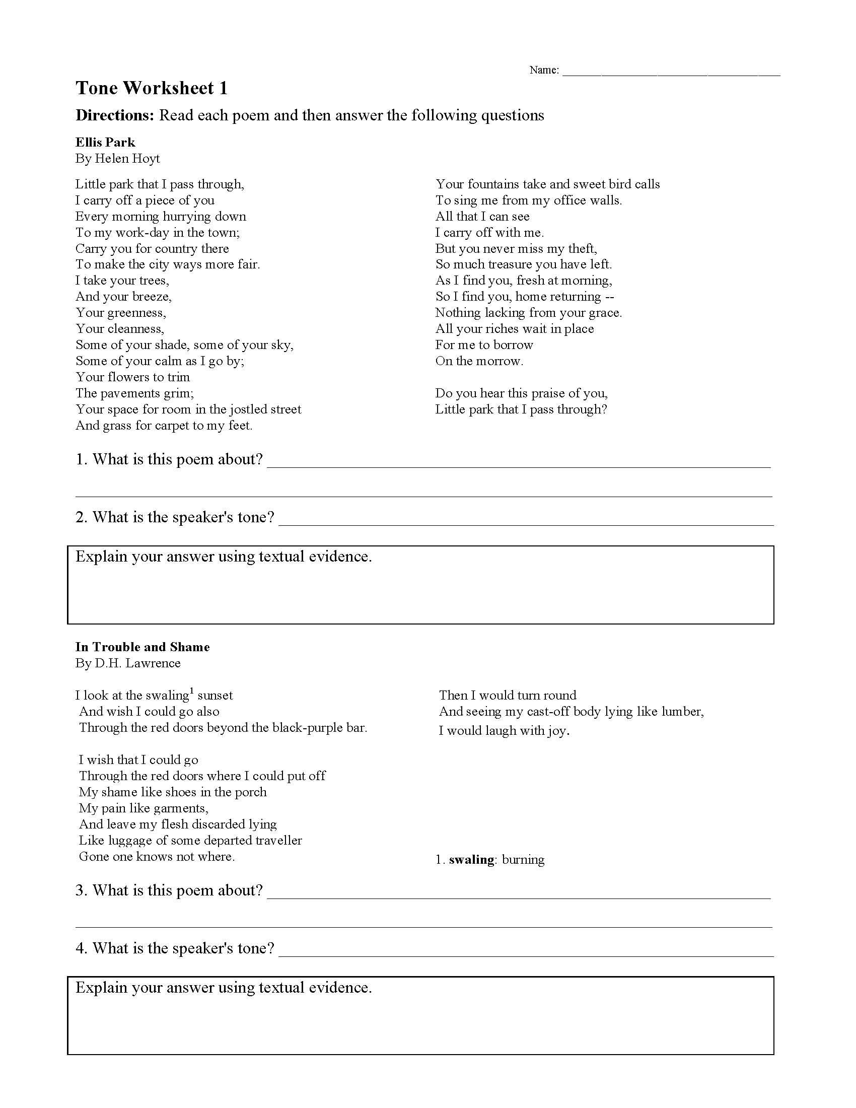 Tone Worksheet 1