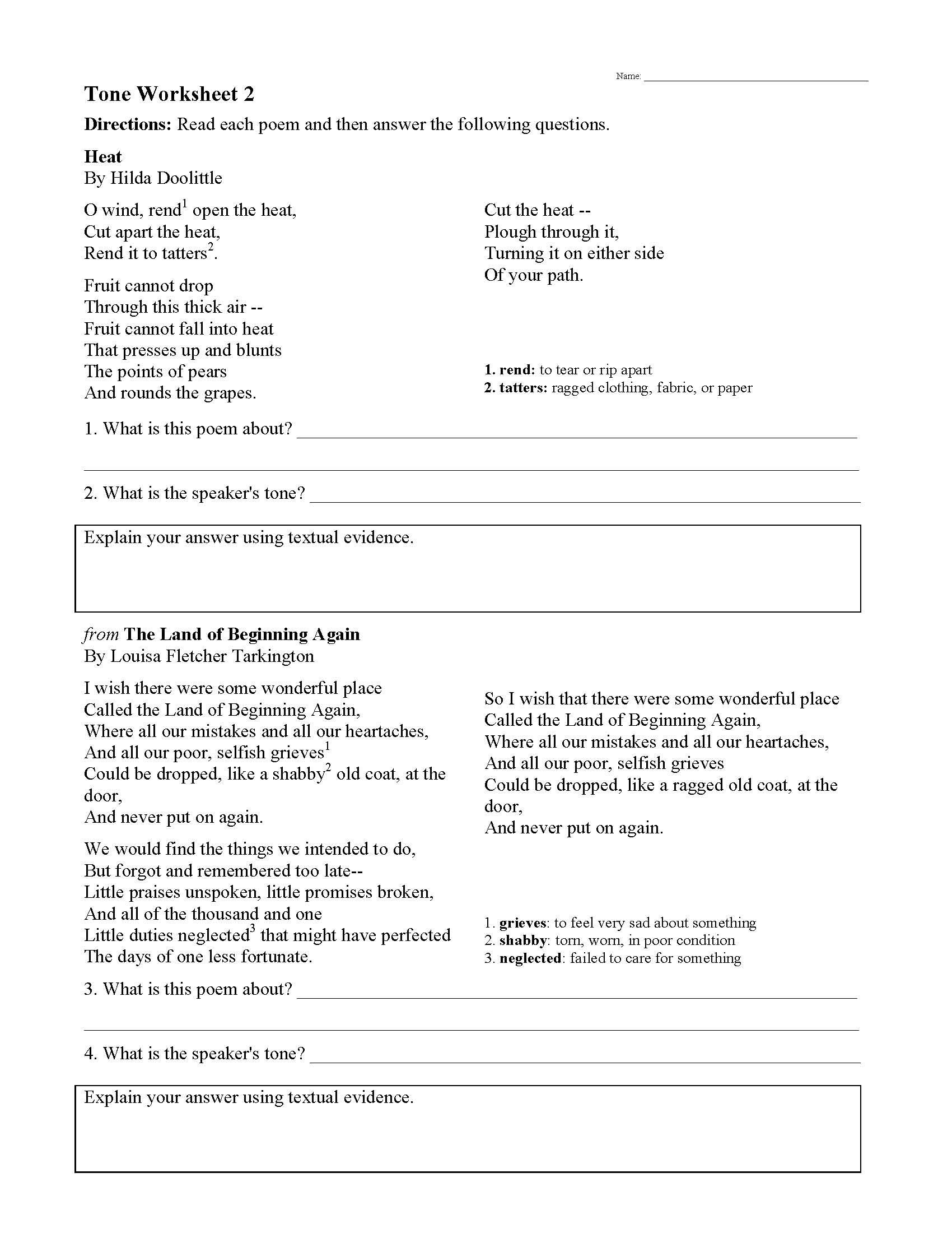 Tone Worksheet 2