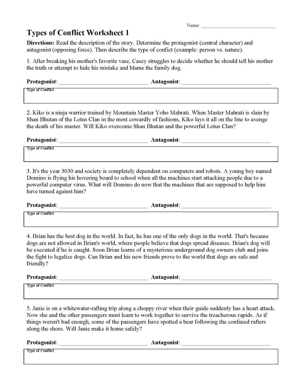 medium resolution of Types of Conflicts in Stories - Worksheets \u0026 Lessons   Ereading Worksheets