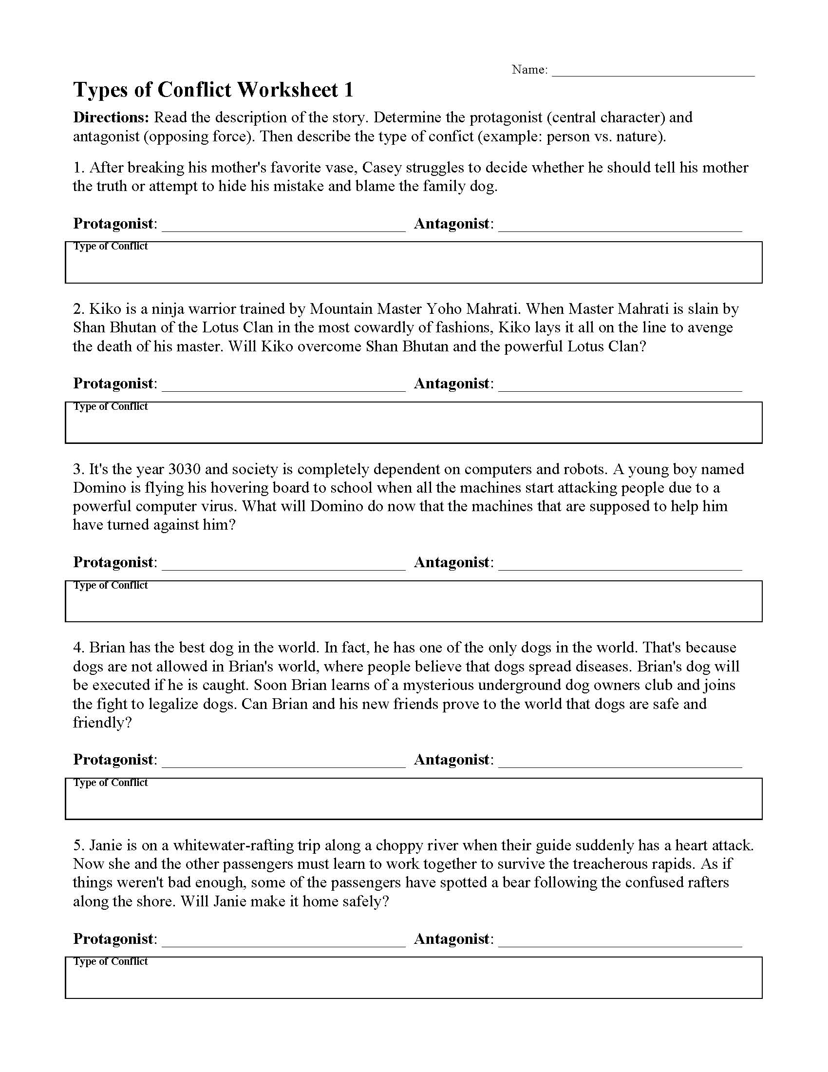 hight resolution of Types of Conflicts in Stories - Worksheets \u0026 Lessons   Ereading Worksheets