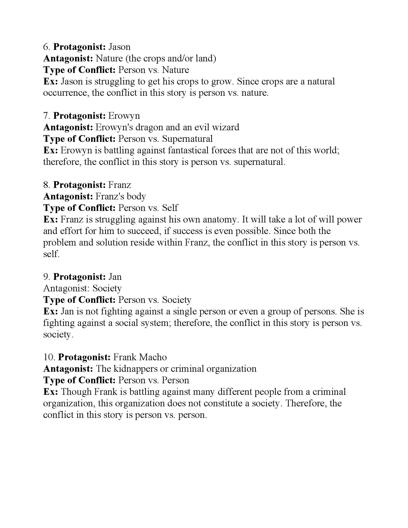 World Conflict Worksheet