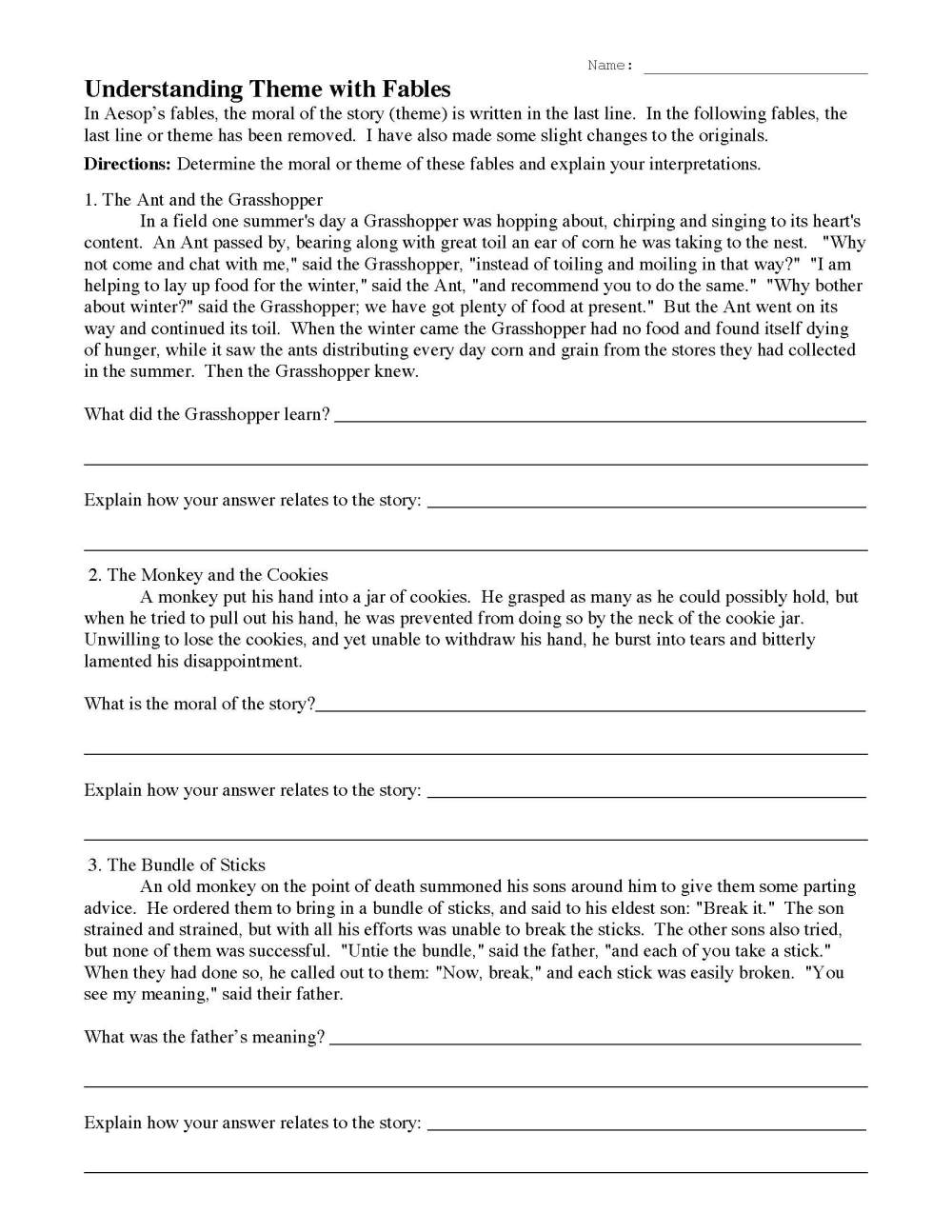 medium resolution of Understanding Theme with Fables 1   Reading Activity
