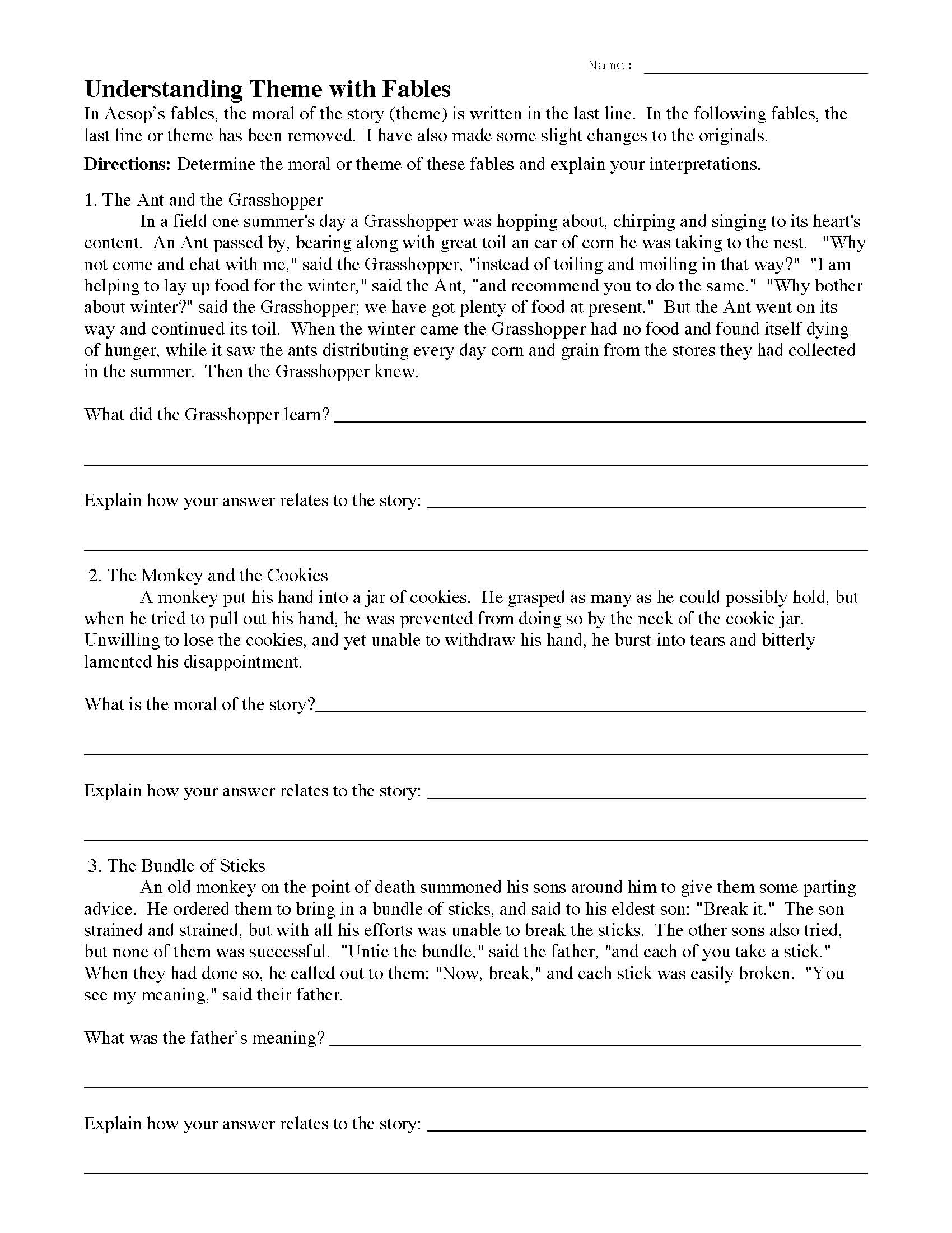 hight resolution of Understanding Theme with Fables 1   Reading Activity