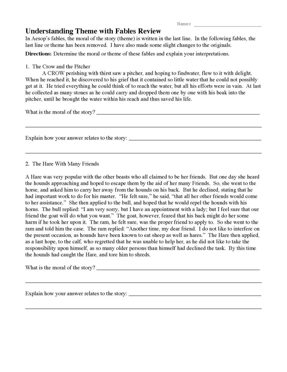 medium resolution of Theme or Author's Message Worksheets   Ereading Worksheets