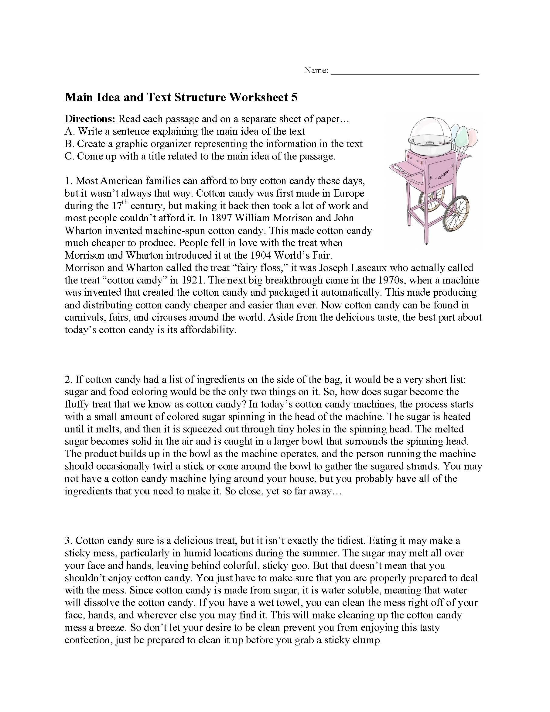 31 Main Idea Worksheet 5