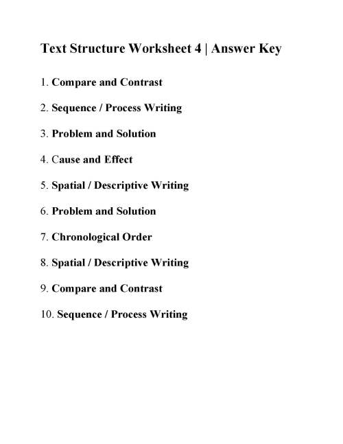 small resolution of Text Structure Worksheet 4   Answers