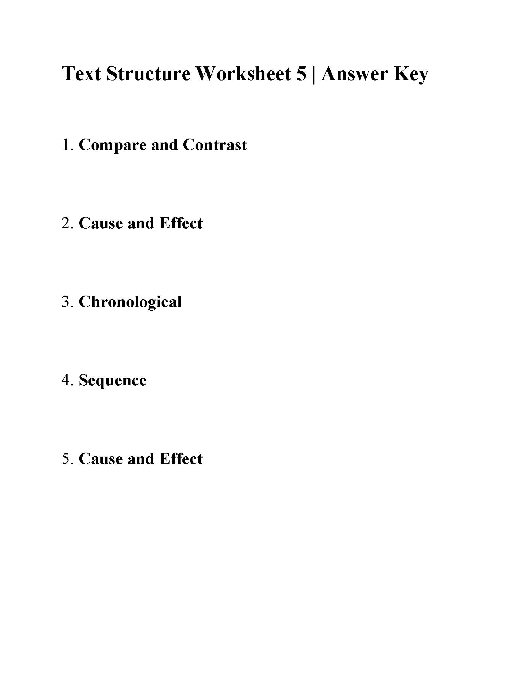 hight resolution of Text Structure Worksheet 5   Answers