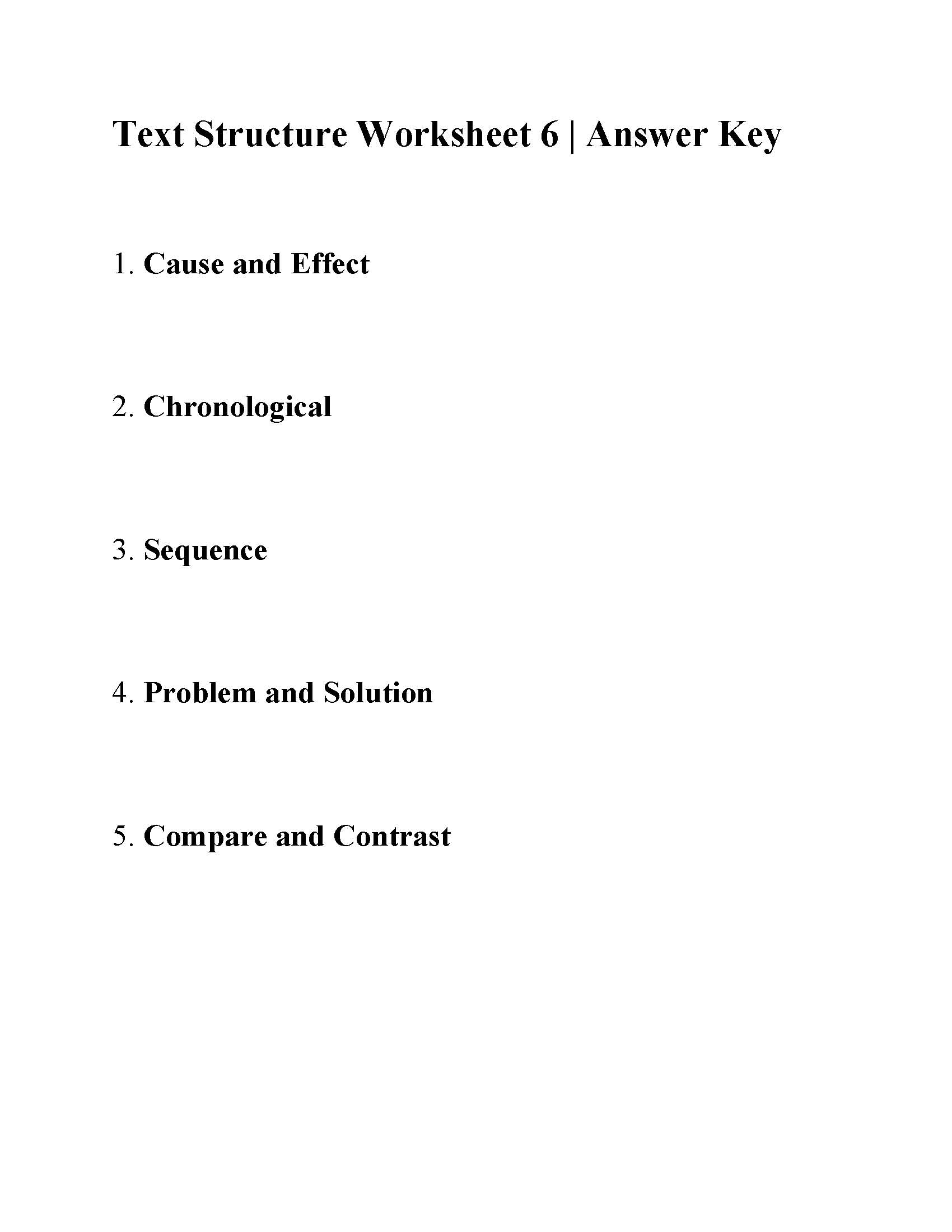 Text Structure Worksheet 6
