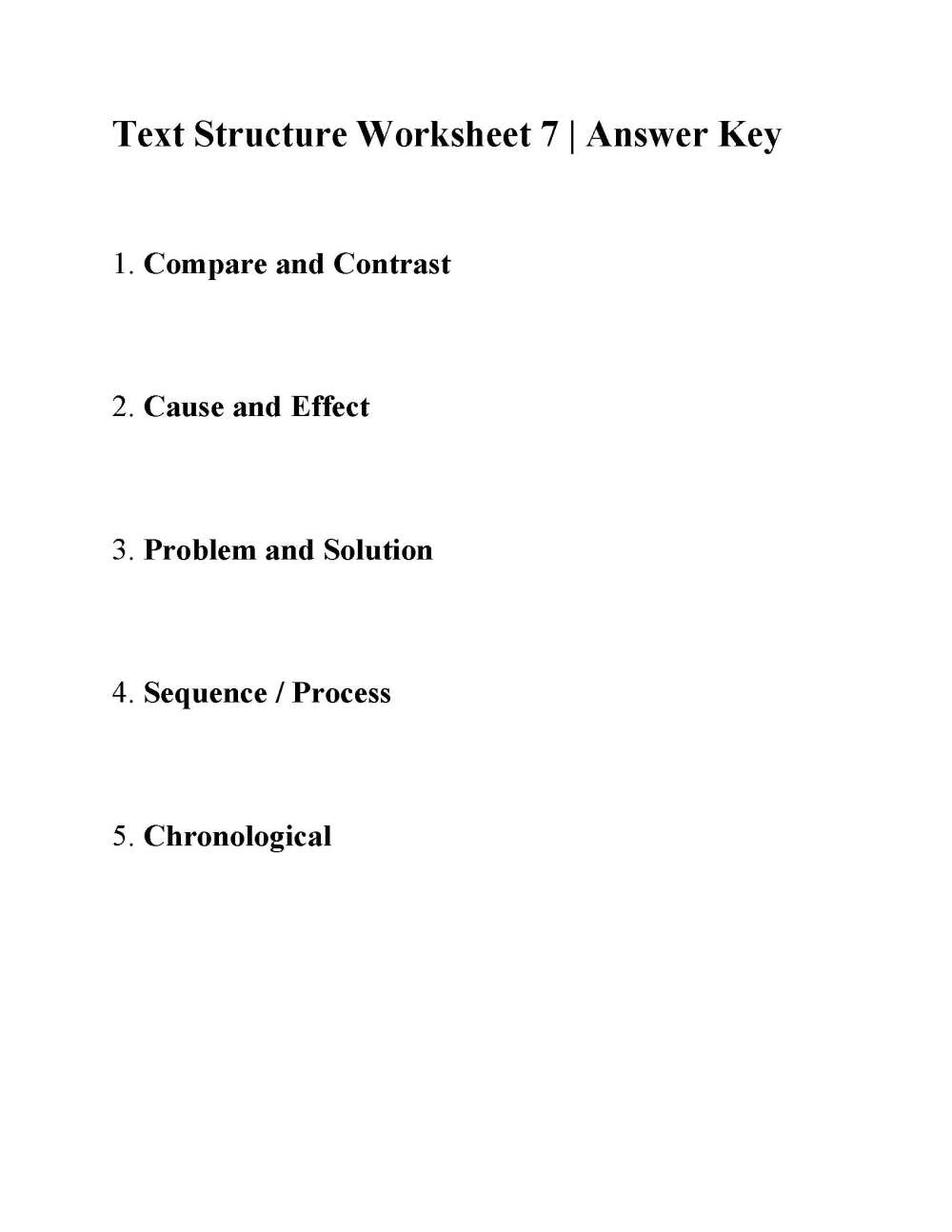 medium resolution of Text Structure Worksheet 7   Answers