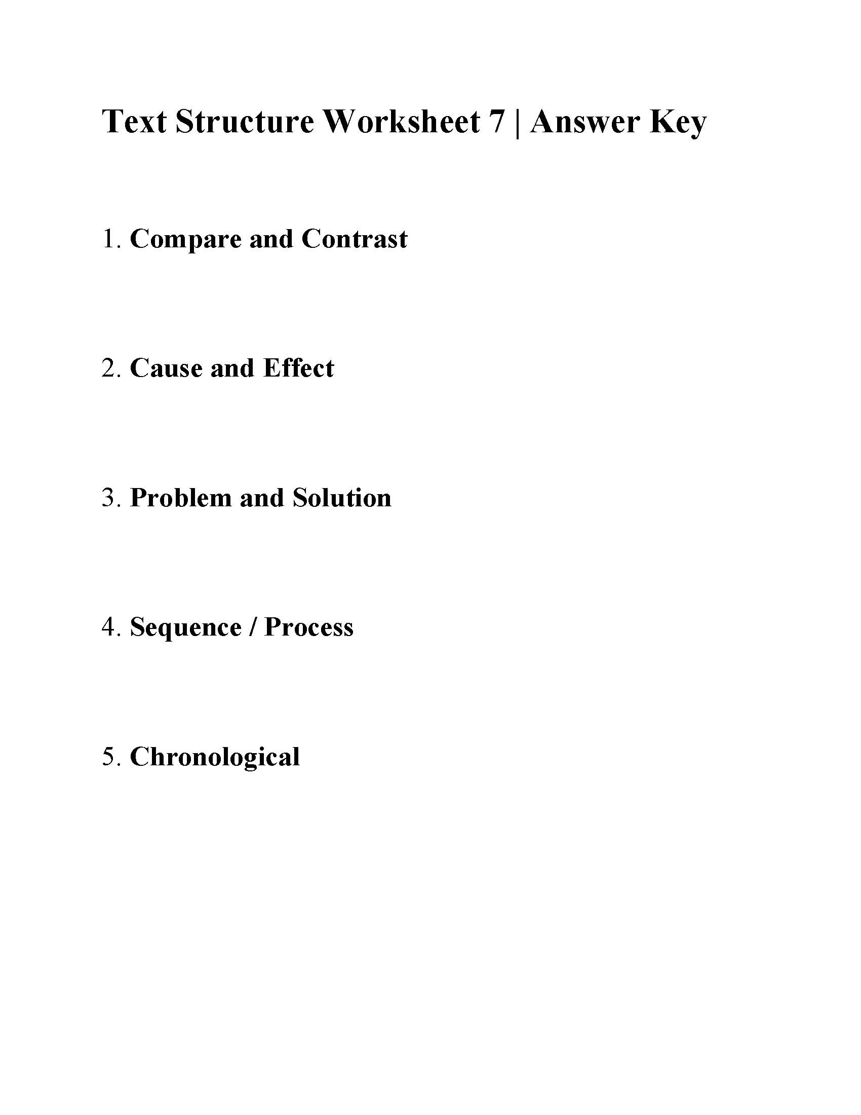 hight resolution of Text Structure Worksheet 7   Answers