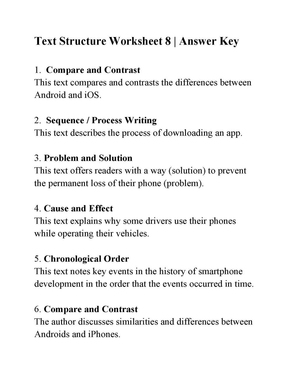 medium resolution of Text Structure Worksheet 8   Answers