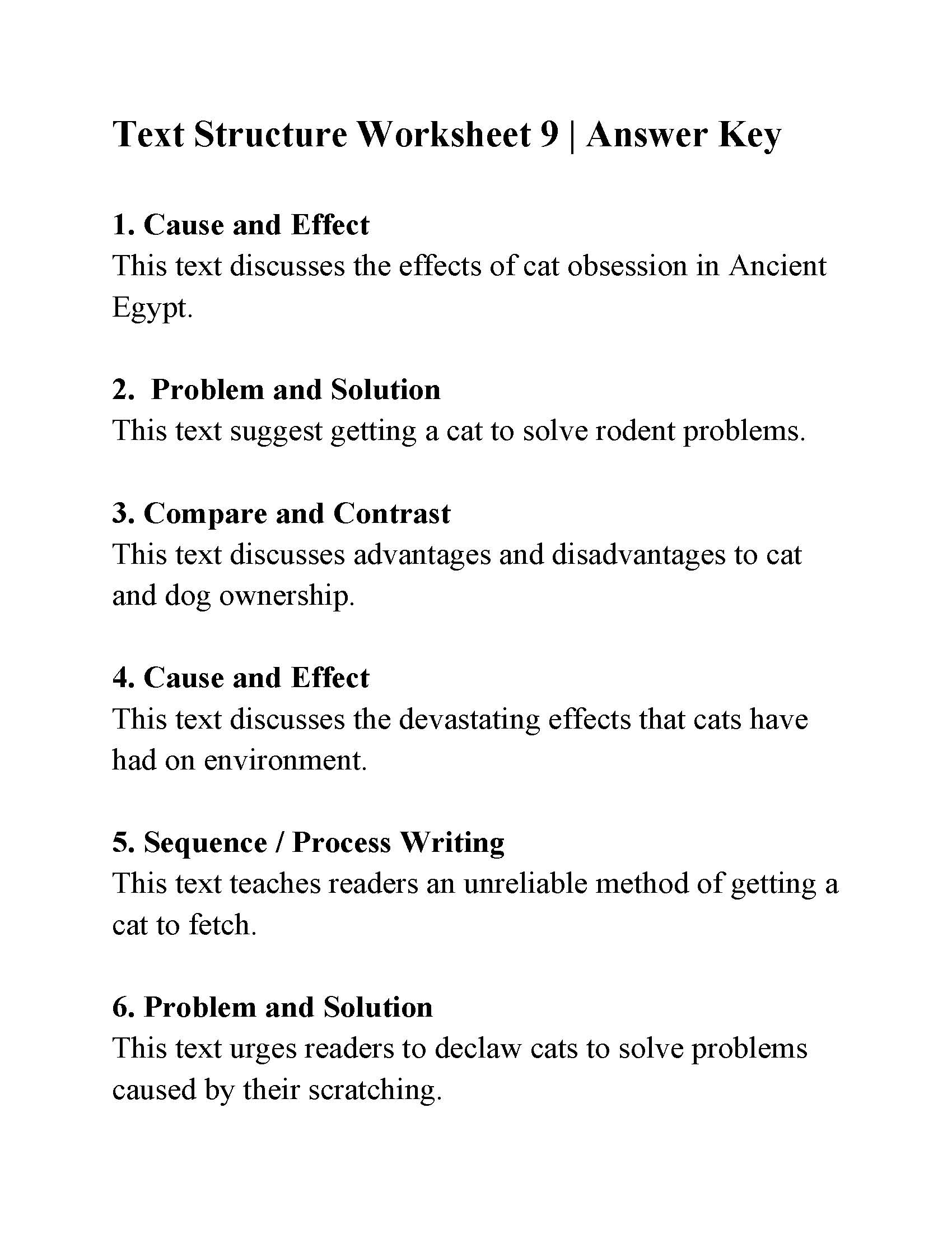 Text Structure Worksheet 9