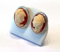 Old Studs Silver Cameo Shell Earrings Made in Italy ...
