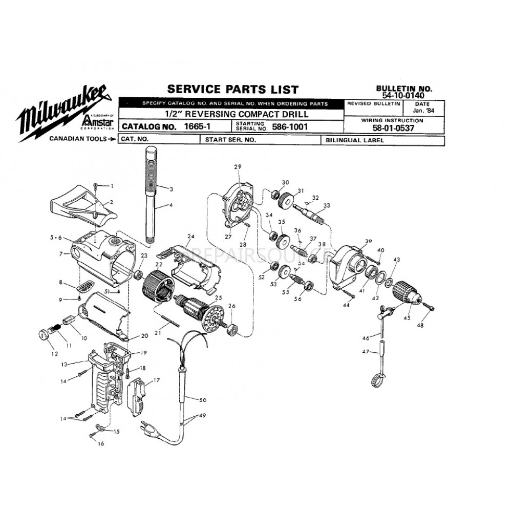 medium resolution of  wiring diagram craftsman milwaukee 1665 1 586 1001 1 2 reversing compact drill parts