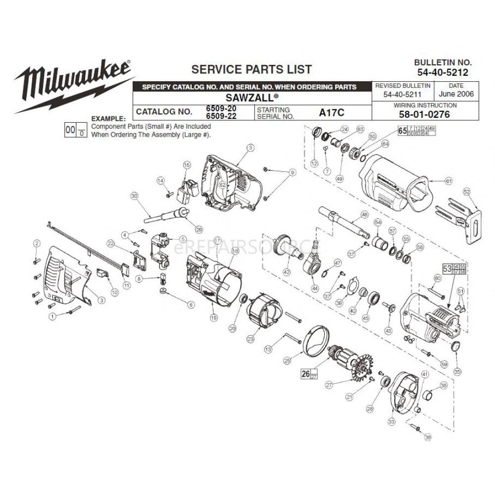 medium resolution of milwaukee 6509 20 a17c sawzall parts erepair source