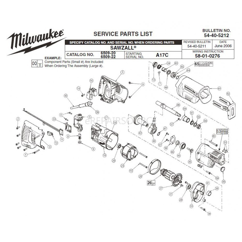 hight resolution of milwaukee 6509 20 a17c sawzall parts erepair source