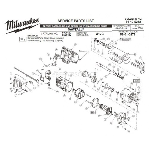small resolution of milwaukee 6509 20 a17c sawzall parts erepair source