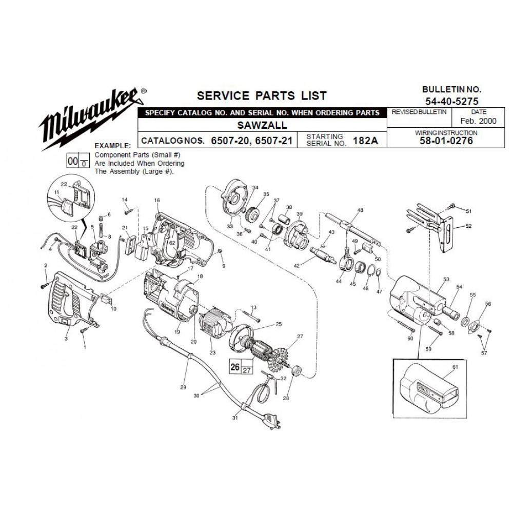 medium resolution of milwaukee 6507 20 182a sawzall parts erepair source hvac wiring diagrams sawzall wiring diagram