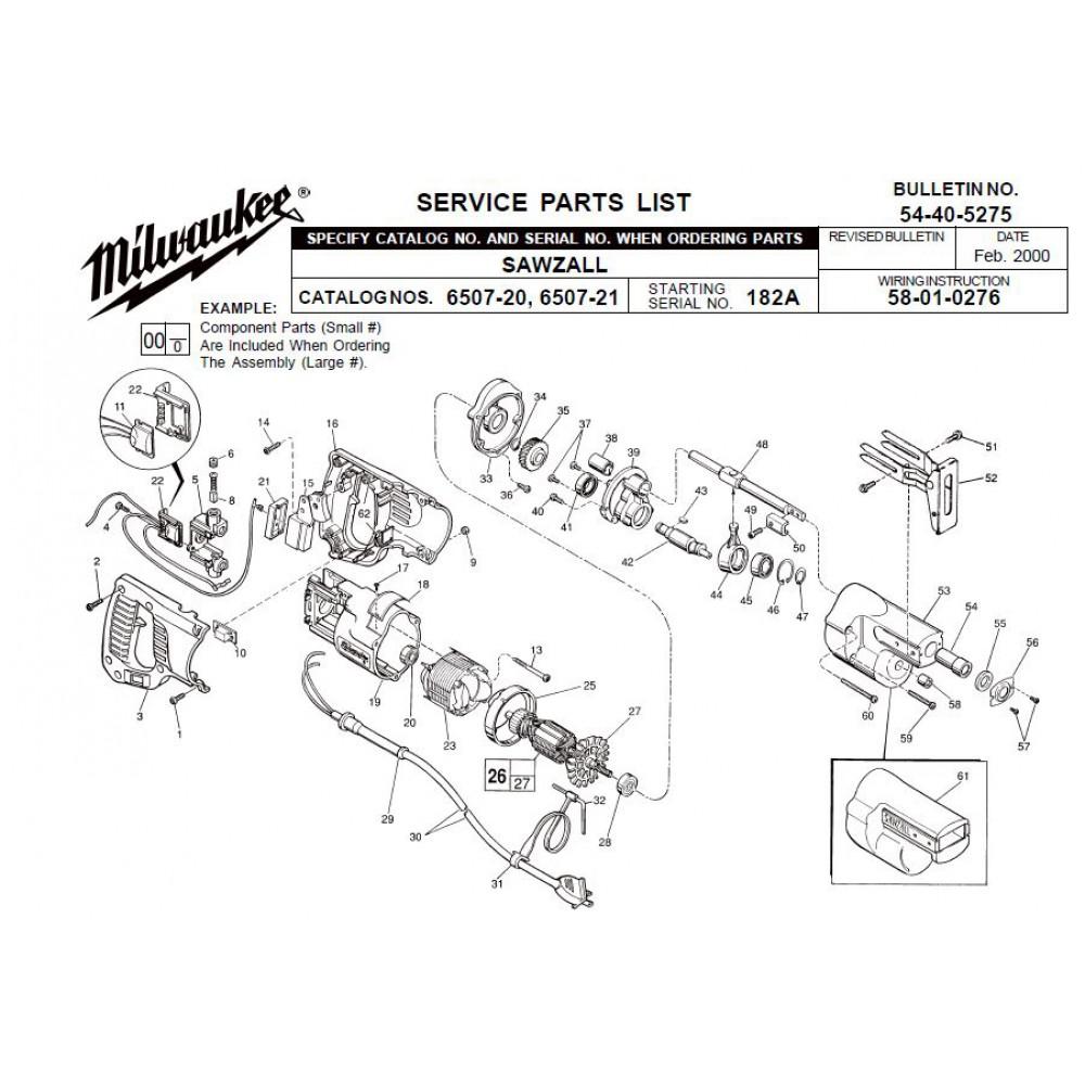 hight resolution of milwaukee 6507 20 182a sawzall parts erepair source hvac wiring diagrams sawzall wiring diagram