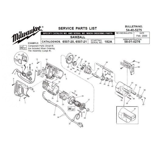 small resolution of milwaukee 6507 20 182a sawzall parts erepair source hvac wiring diagrams sawzall wiring diagram