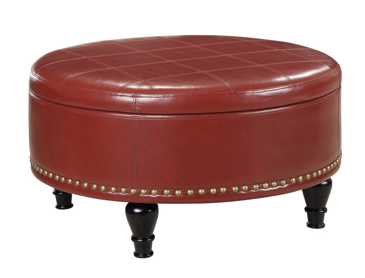 Round Storage Ottoman Tray