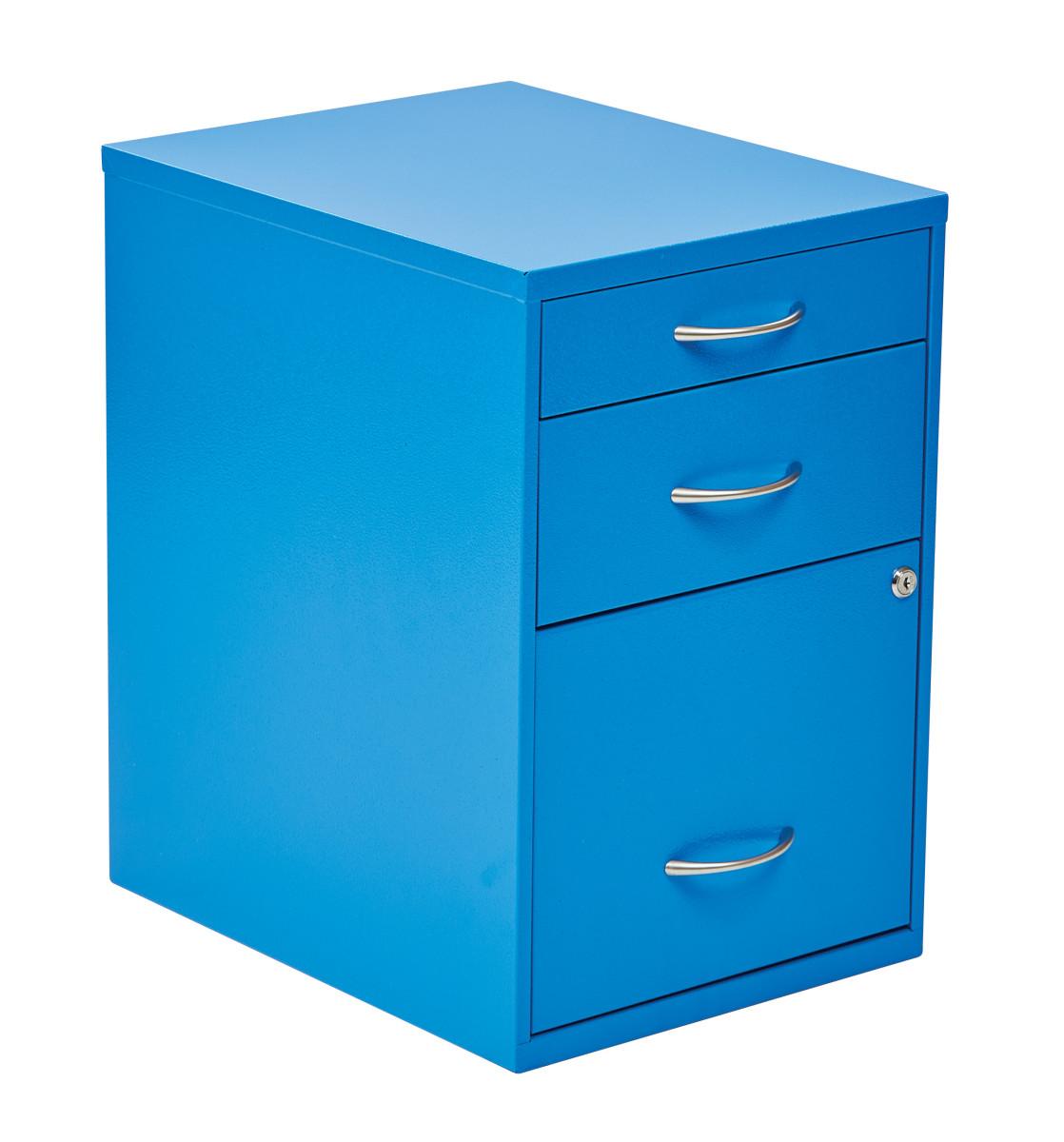 22 Pencil Box Storage File Cabinet in Blue Finish