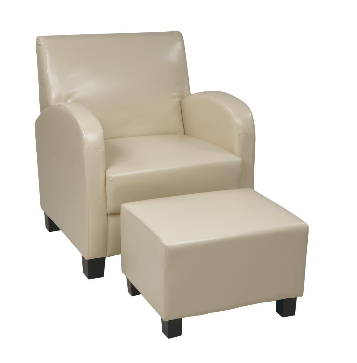 Cream Faux Leather Club Chair with Ottoman  Ergobackcom