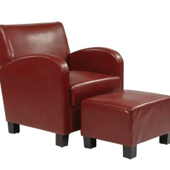 Red Club Chair Shabby Chic Nursing Crimson Faux Leather With Ottoman