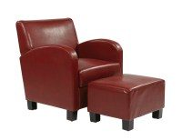 Crimson Red Faux Leather Club Chair with Ottoman ...