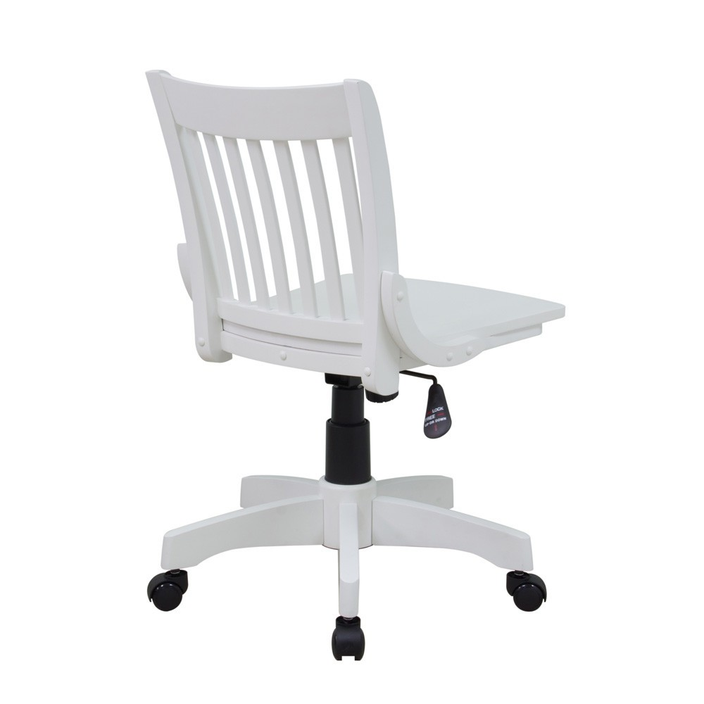 casters for chairs on carpet chair booster seat deluxe armless wood bankers with (antique white finish) - ergoback.com