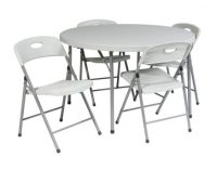 """""""5 Piece Folding Set (4 chairs and 48"""""""" Round fold in half ..."""