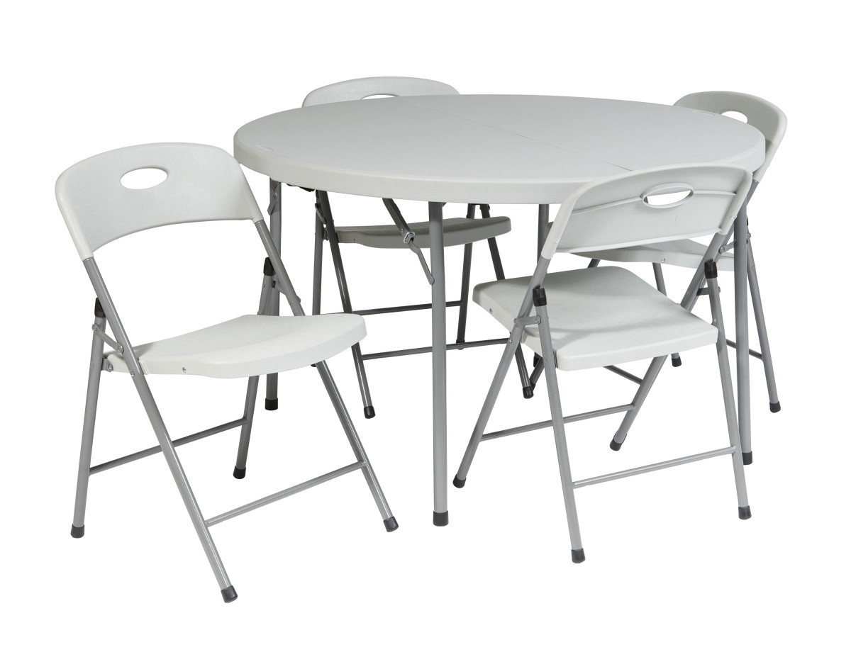 folding chair set desk non swivel quot5 piece 4 chairs and 48 quot round fold in half