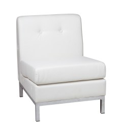 White Leather Slipper Chair Backwash Chairs Uk Wall Street Armless In Faux Ergoback
