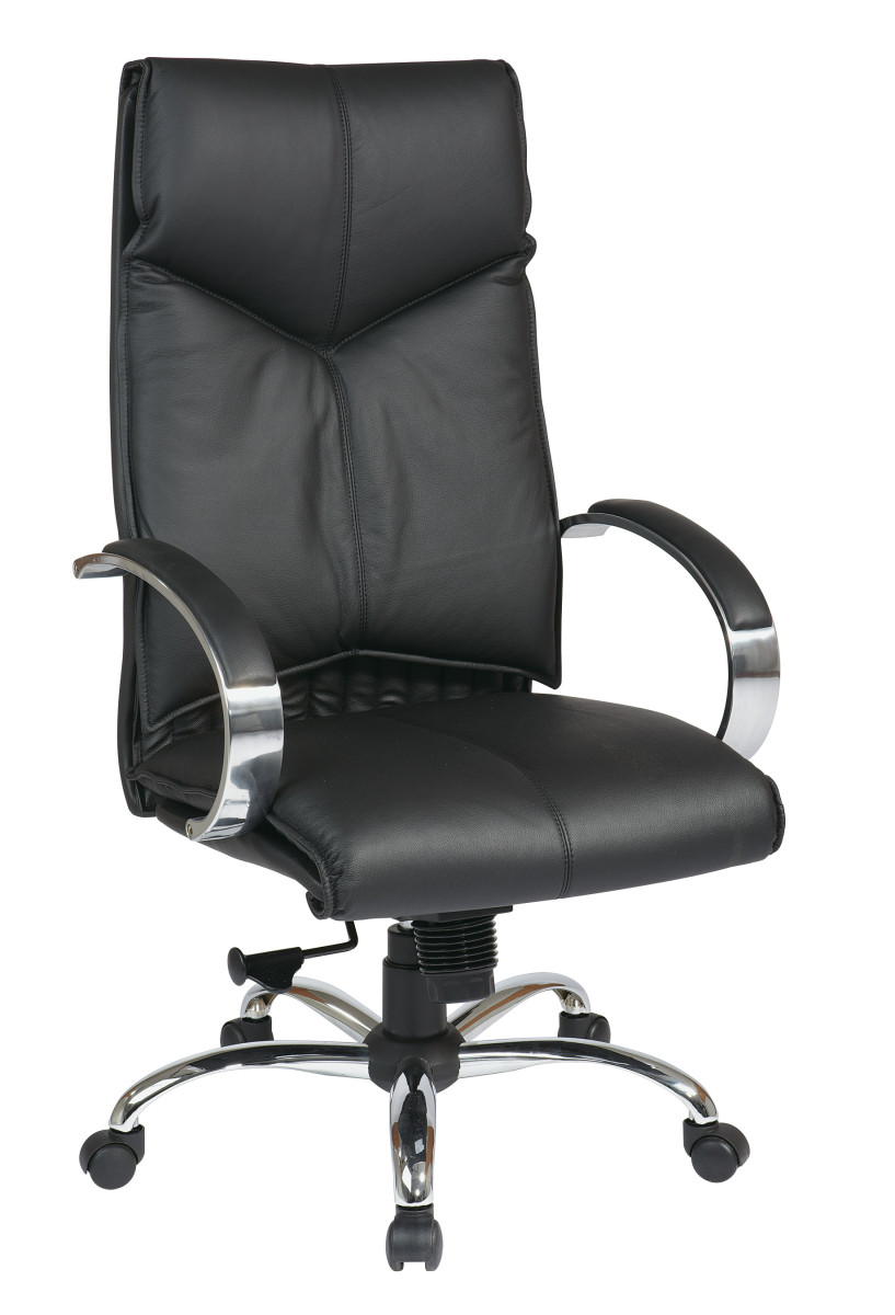 Deluxe High Back Black Executive Leather Chair with Chrome