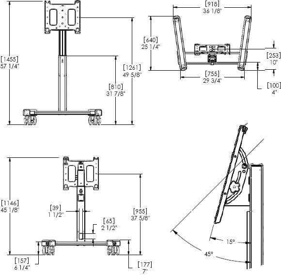 Chief PFMUB or PFMUS Large Confidence Monitor Cart (42-71