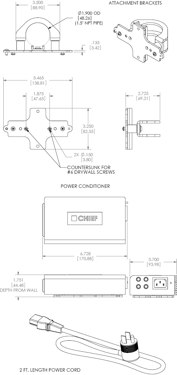 Chief PACPC1 Flat Panel Power Filter Kit