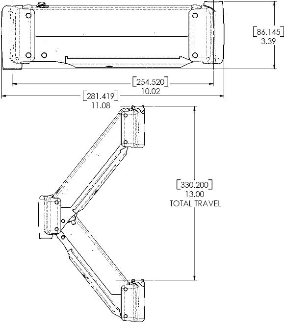 Chief KSA1004B Height-Adjustable Extension Arm Accessory