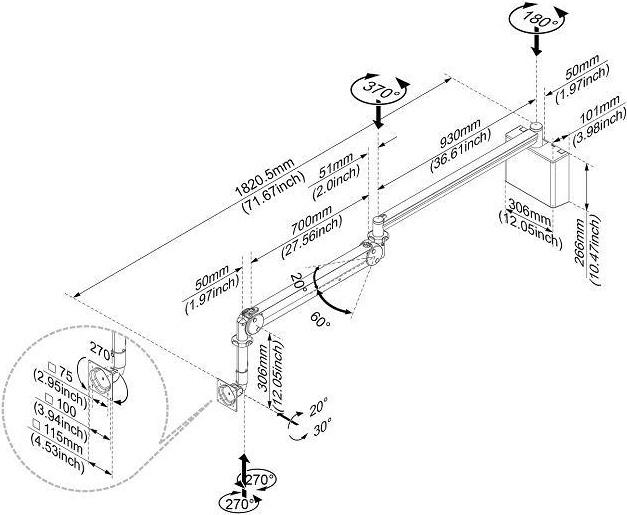 Cotytech MW-M15WB Long Reach LED Monitor Medical Arm Wall