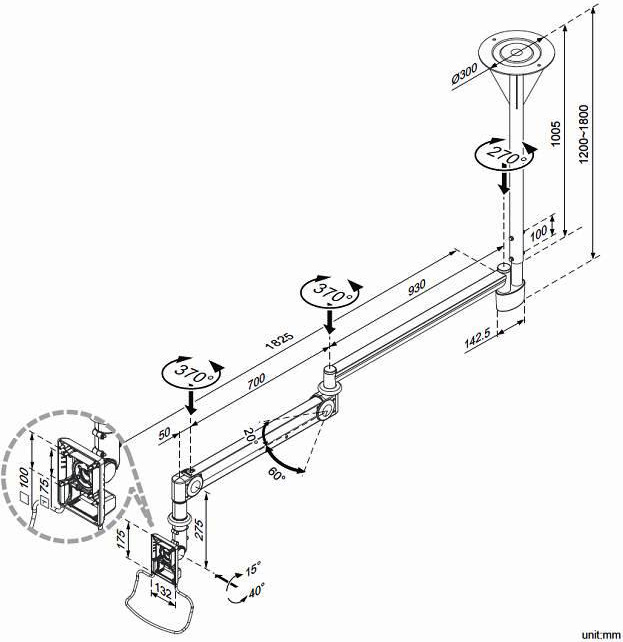 Cotytech CM-M123N Long Reach Medical Arm Ceiling Mount