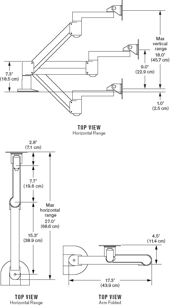 Innovative 7500-HD Flat Panel Radial LCD Monitor Arm with