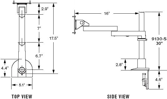 Innovative 9130-S-30 Long Reach Single LED Monitor Mount