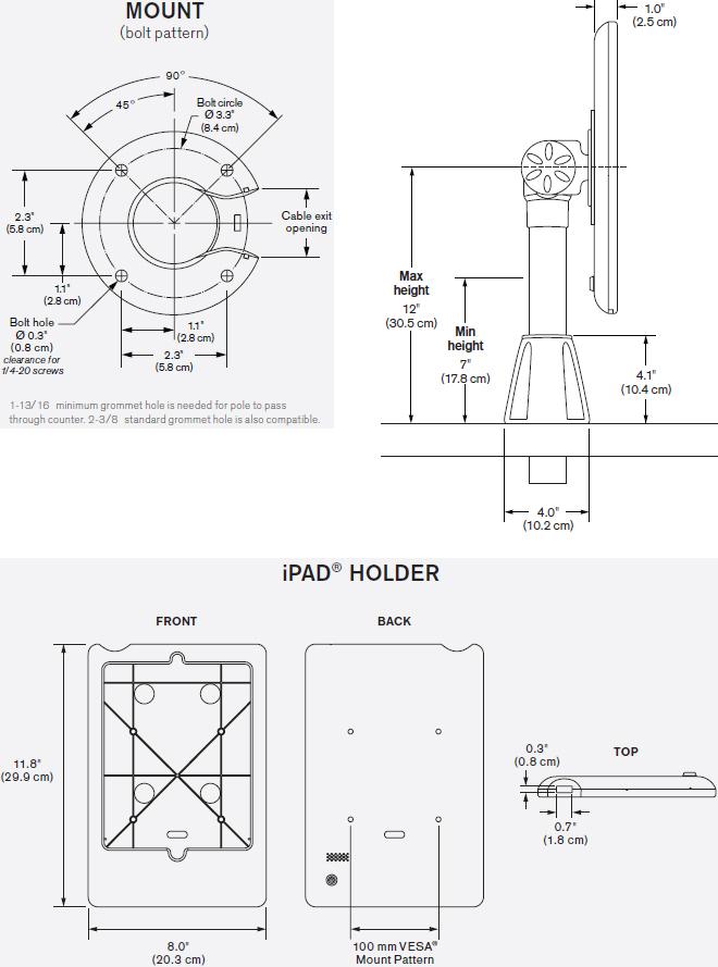 Innovative 9189-12-8438 Adjustable POS Mount, Secure iPad