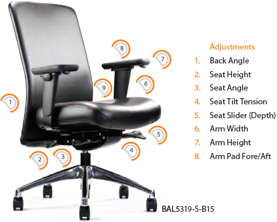 balance posture chair blue leather swivel recliner neutral executive conference and task bal5350 seating stool bal5300