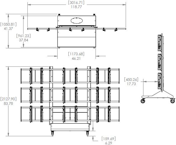 Premier MVWC-3X3 Mobile 3x3 Video Wall Cart