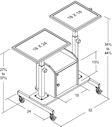 Balt 82692 Proview Height Adjustable Audio Video AV Cart